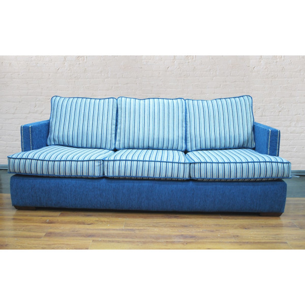 Диван-кровать GRUPPO 396 Адриатика трехместный, ткань полоса, синий