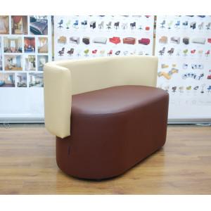 Диван GRUPPO 396 Акар двойной, искусственная кожа, цвет коричневый-бежевый