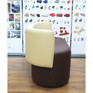Пуфик GRUPPO 396 Акар со спинкой, искусственная кожа, цвет коричневый-бежевый