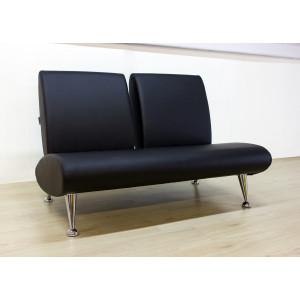 Диван офисный GRUPPO 396 Клерк 7 двойной, искусственная кожа, цвет черный Ecotex 3001