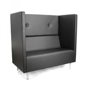 Диван офисный GRUPPO 396 Скайнет двойной модуль В, искусственная кожа, цвет черный Ecotex 3001