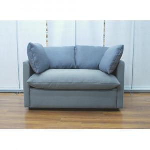 Диван GRUPPO 396 Страйк двойной, прямой, в рогожке Мальмо72, подушки велюр цвет серый