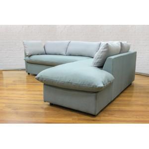 Угловой диван GRUPPO 396 Страйк (2600) правый, в рогожке Мальмо72,подушки ткань цвет серый