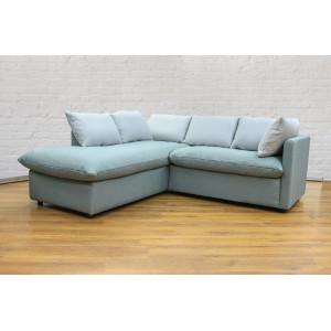 Угловой диван GRUPPO 396 Страйк (2100) левый, в рогожке Мальмо72,подушки ткань цвет серый