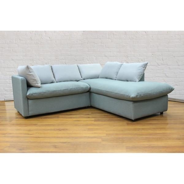 Угловой диван GRUPPO 396 Страйк (2100) правый, в рогожке Мальмо72,подушки ткань цвет серый
