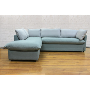 Угловой диван GRUPPO 396 Страйк (2600) левый, в рогожке Мальмо72,подушки ткань цвет серый
