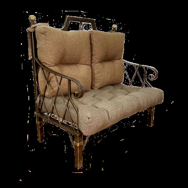 Диван GRUPPO 396 Бергамо кованый двойной, рогожка, цвет коричневый