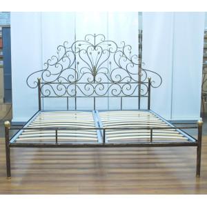 Кровать кованая GRUPPO 396 Анета двуспальная, спальное место (ШхД): 160х200 см, с металлическим основанием, цвет шоколад + патина солнечное золото