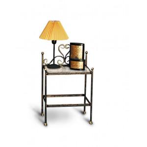 Тумбочка прикроватная GRUPPO 396 Анета кованая, две полки, цвет шоколад + патина солнечное золото