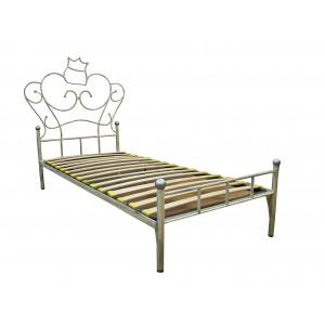 Кровать кованая GRUPPO 396 Анжелика односпальная, спальное место (ШхД): 90х200 см, с металлическим основанием, цвет слоновая кость + патина мягкое серебро