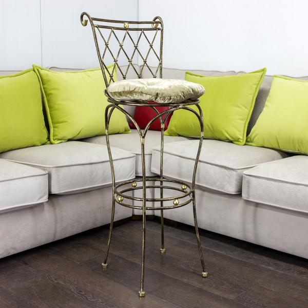 Барный стул GRUPPO 396 Батист кованый , цвет шоколад + патина солнечное золото, с подушкой