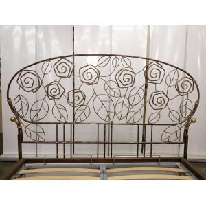 Кровать GRUPPO 396 Берта с кованым изголовьем двуспальная, спальное место (ШхД): 160х200 см, с подъемным механизмом, обивка: искусственная кожа, цвет: коричневый