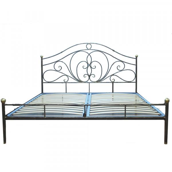 Кровать кованая GRUPPO 396 Лора двуспальная, спальное место (ШхД): 140х200 см, с металлическим основанием, цвет шоколад + патина солнечное золото