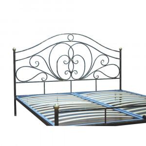 Кровать кованая GRUPPO 396 Лора двуспальная, спальное место (ШхД): 180х200 см, с металлическим основанием, цвет шоколад + патина солнечное золото