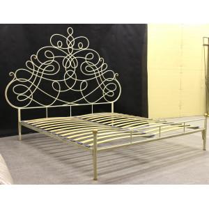 Кровать кованая GRUPPO 396 Пуатье двуспальная, спальное место (ШхД): 180х200 см, с металлическим основанием, цвет слоновая кость + патина солнечное золото