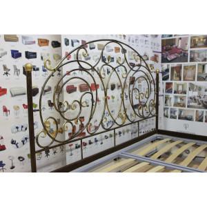 Кровать GRUPPO 396 Шарлота c кованым изголовьем двуспальная, спальное место (ШхД): 160х200 см, с мягким основанием, подъемный механизм, цвет шоколад
