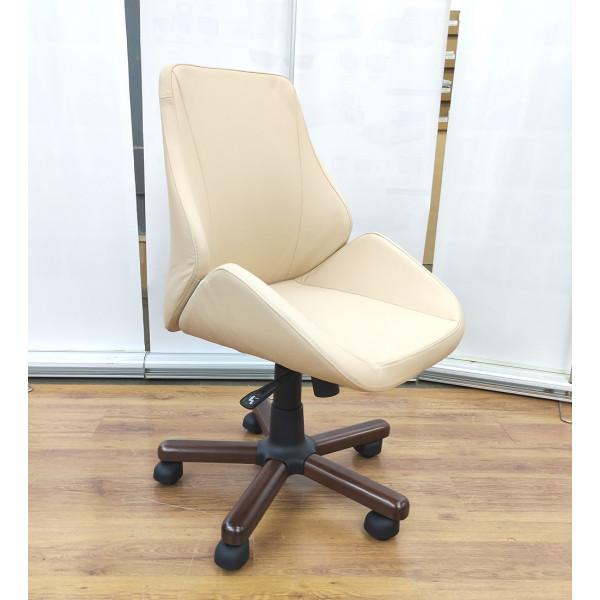 Кресло офисное GRUPPO 396 Авгур М без подлокотников, опора пятилучье с деревянными накладками, искусственная кожа, цвет бежевый