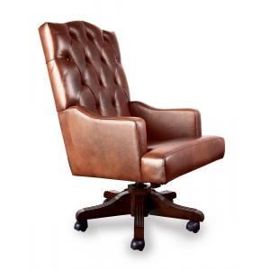 Кресло Викториан на опоре пятилучье с деревянными накладками Люкс