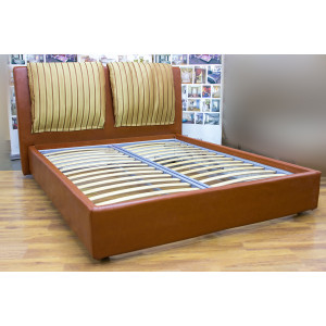 Кровать GRUPPO 396 Берта двуспальная, спальное место (ШхД): 160х200 см, с подъемным механизмом, обивка: искусственная кожа, цвет: коричневый