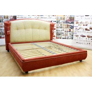 Кровать GRUPPO 396 Камея двуспальная, спальное место (ШхД): 180х200 см, с подъемным механизмом, обивка: велюр Virginia, цвет темно-красный/кремовый