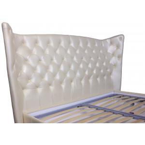 Кровать GRUPPO 396 Леонарда двуспальная, спальное место (ШхД): 180х200 см, с подъемным механизмом, обивка: натуральная кожа, цвет: молочный перламутр