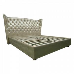"""Кровать Леонарда """"Спальное место 1800 х 2000"""" с подъёмным механизмом, обивочный материал  нат/кожа Prestige Beige Perlato"""